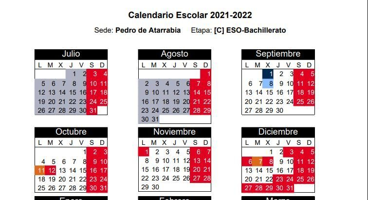 CALENDARIO DEL CURSO 2021/2022 EGUTEGIA